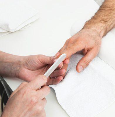 man manicures